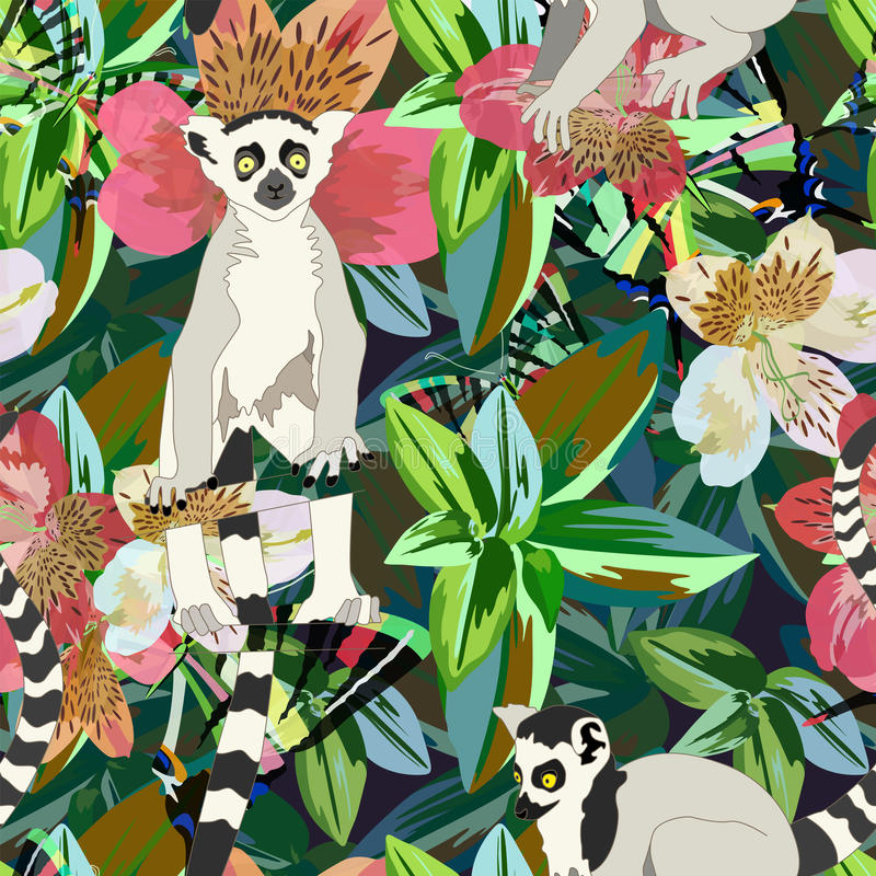 Abstract watercolor draw two lemur striped white black, background tropical forest vector illustration
