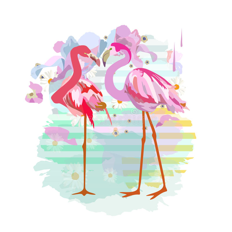 Abstract watercolor draw of two pink red flamingos royalty free illustration