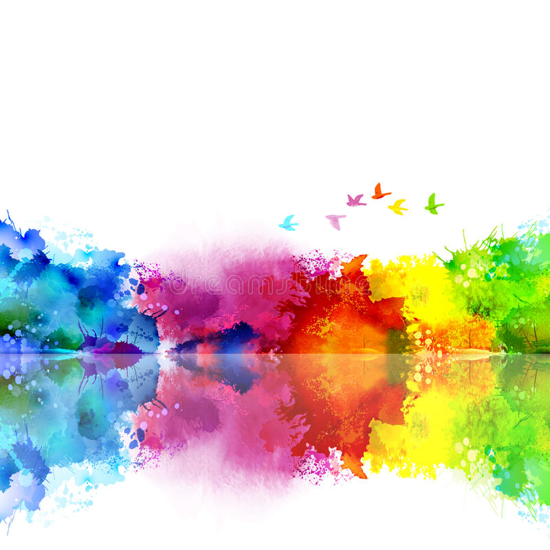 Abstract Watercolor fantastic landscape with a flying flock of birds. Calm lake created colored blotches and spots. Abstract Watercolor fantastic landscape with stock illustration