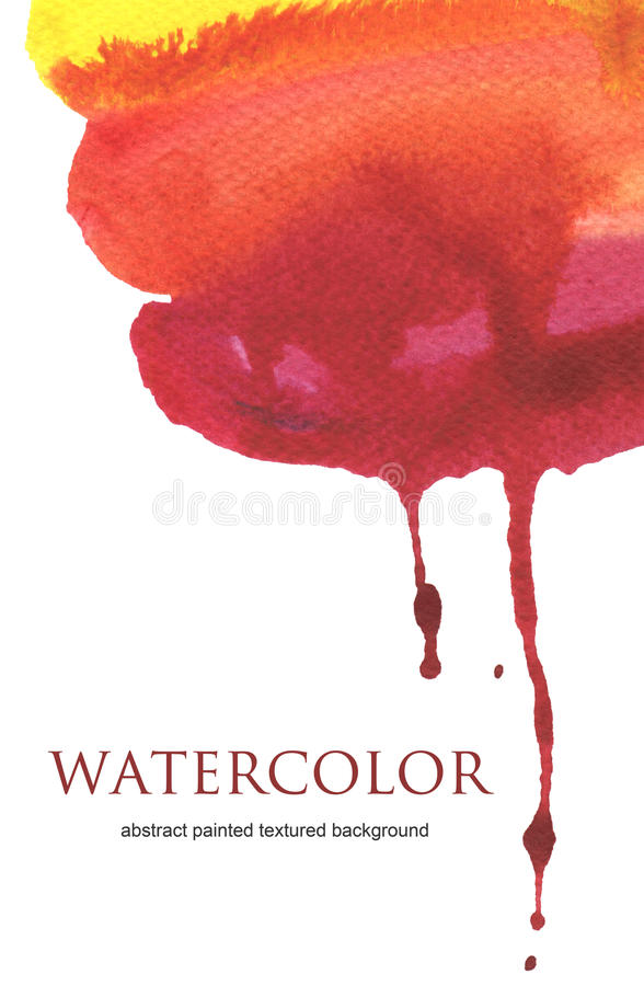 Abstract watercolor flow down hand painted background. Textured paper stock illustration