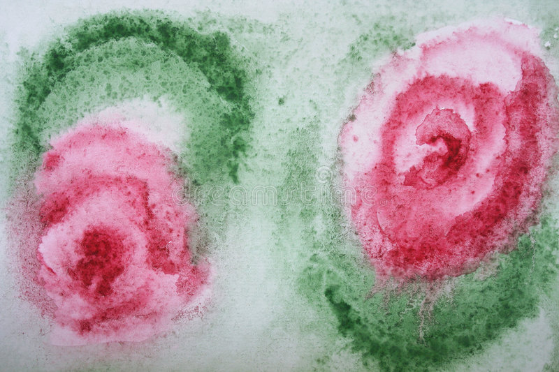 Abstract watercolor flowers on paper stock photos