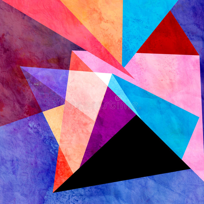 Abstract watercolor geometric background. Abstract colorful watercolor background with different geometric elements stock photography