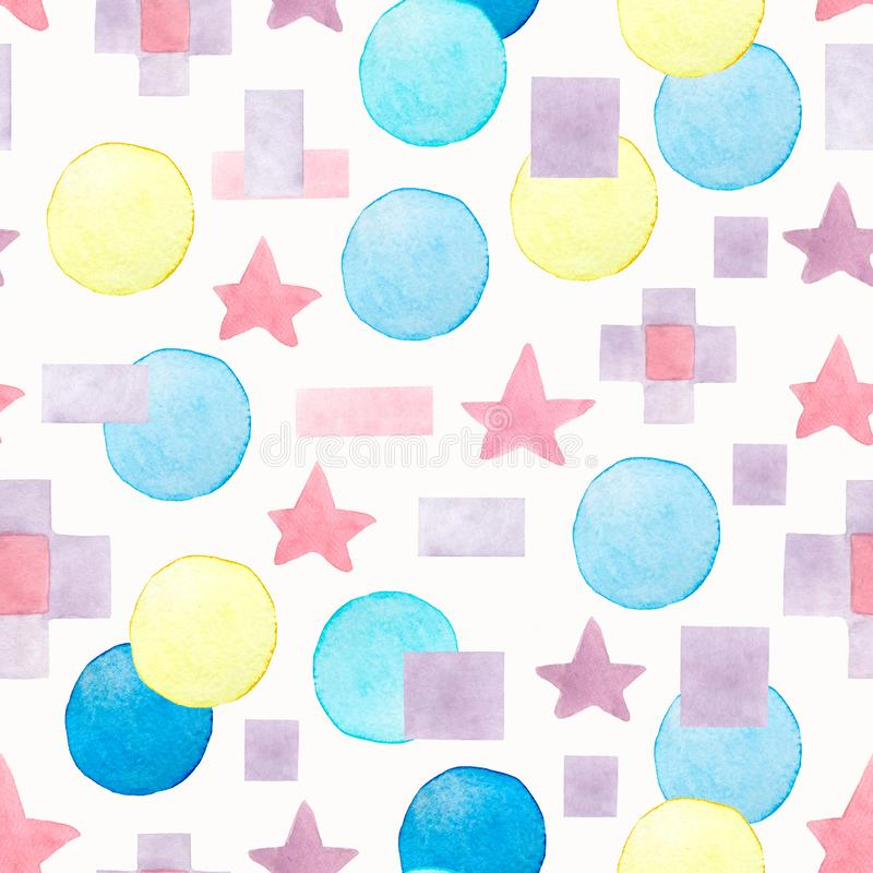 Abstract watercolor geometric seamless pattern. Hand painted background. With circle,stars,lines,etc vector illustration