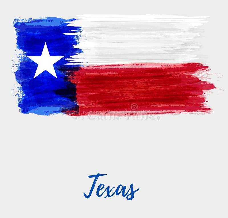 Grunge flag of the state of Texas. Abstract watercolor grunge flag of the state of Texas. The Lone Star Flag. Modern watercolored style. Template for your royalty free illustration