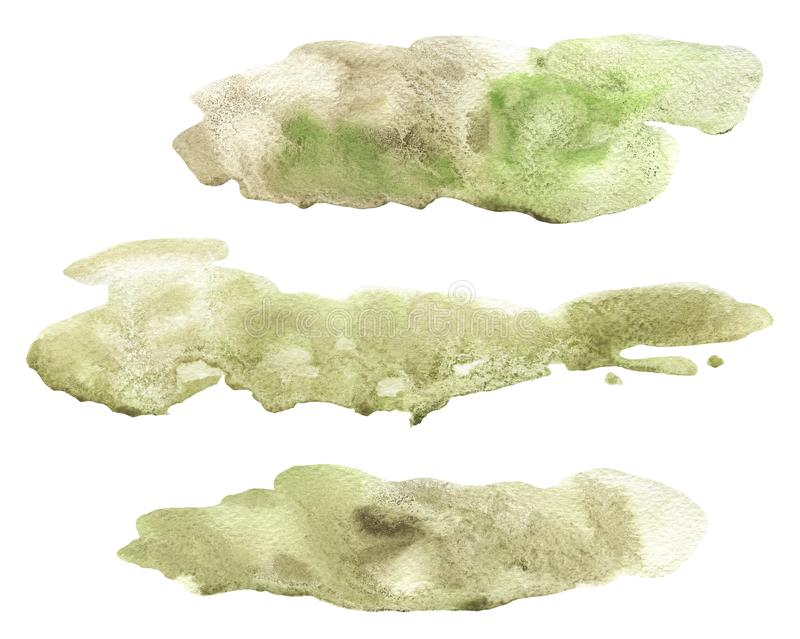 Abstract watercolor hand painted beige and green lose form granulated spot set isolated stock photo