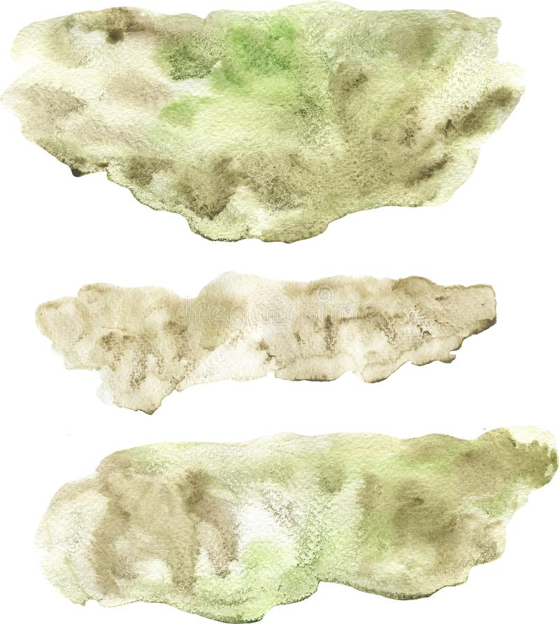 Abstract watercolor hand painted beige and green lose form spot set isolated stock image