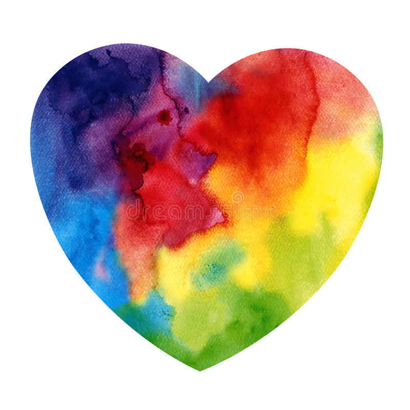 Abstract watercolor heart. Abstract watercolor rainbow heart isolated stock photos