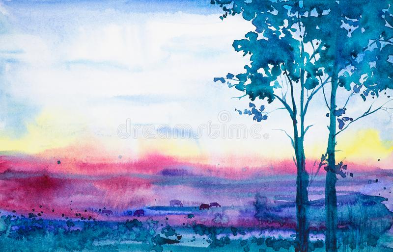 Abstract watercolor illustration of forest and field at sunset with grazing animals cows.  stock illustration