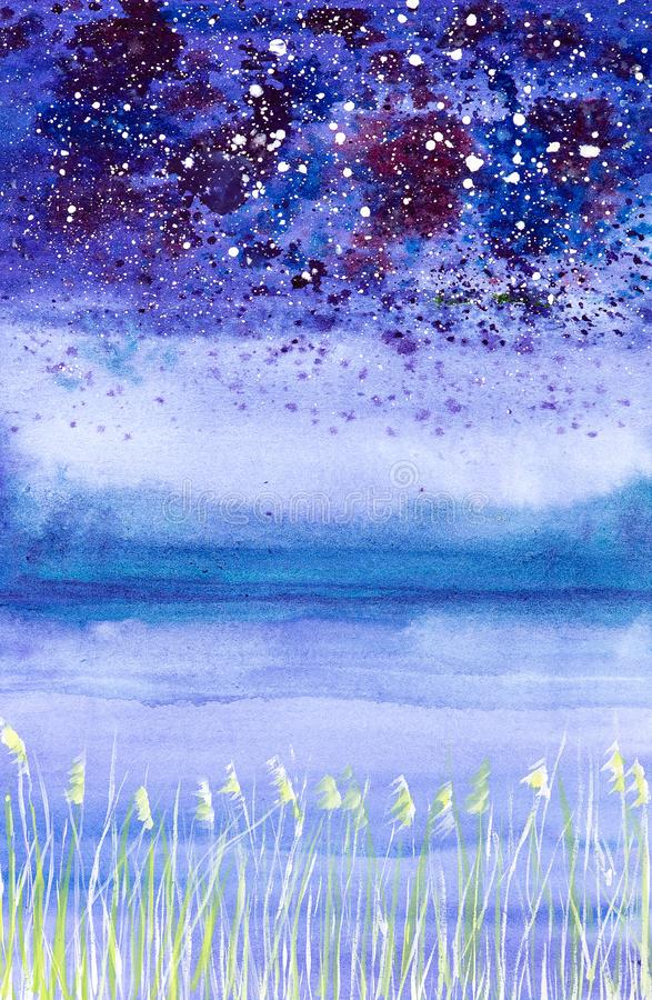 Abstract watercolor illustration of a night landscape with falling snow on the field and bushes royalty free stock photos