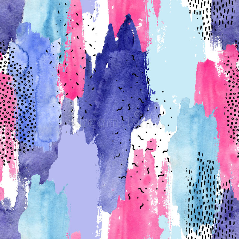 Abstract watercolor and ink doodle shapes seamless pattern. royalty free illustration