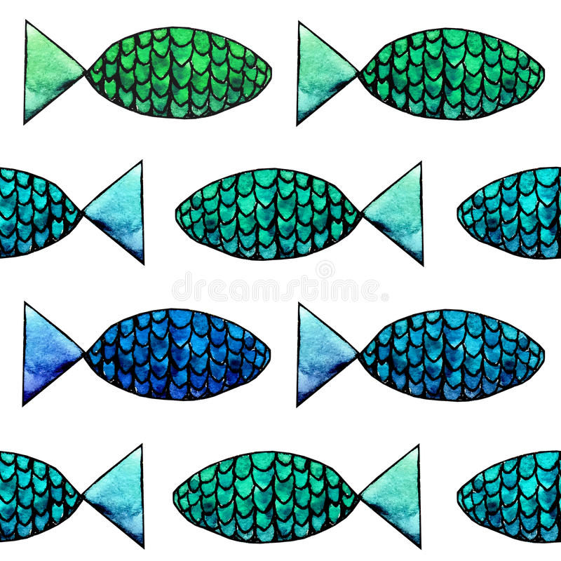 Abstract watercolor and ink fish pattern on the white background stock photography