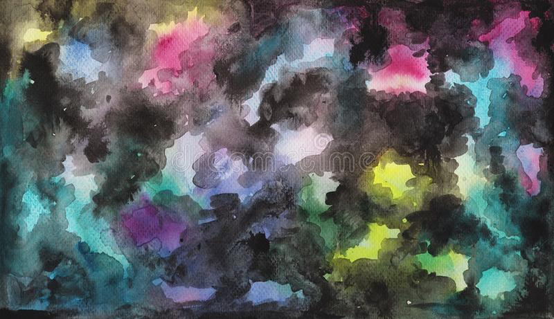 Abstract watercolor and ink hand-drawn background. Smooth color gradient with black ink clouds. stock illustration