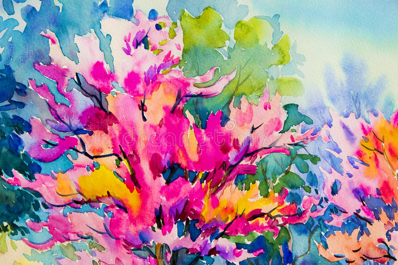 Abstract watercolor landscape painting colorful of Wild himalayan cherry. Abstract watercolor landscape original painting on paper colorful of Wild himalayan vector illustration