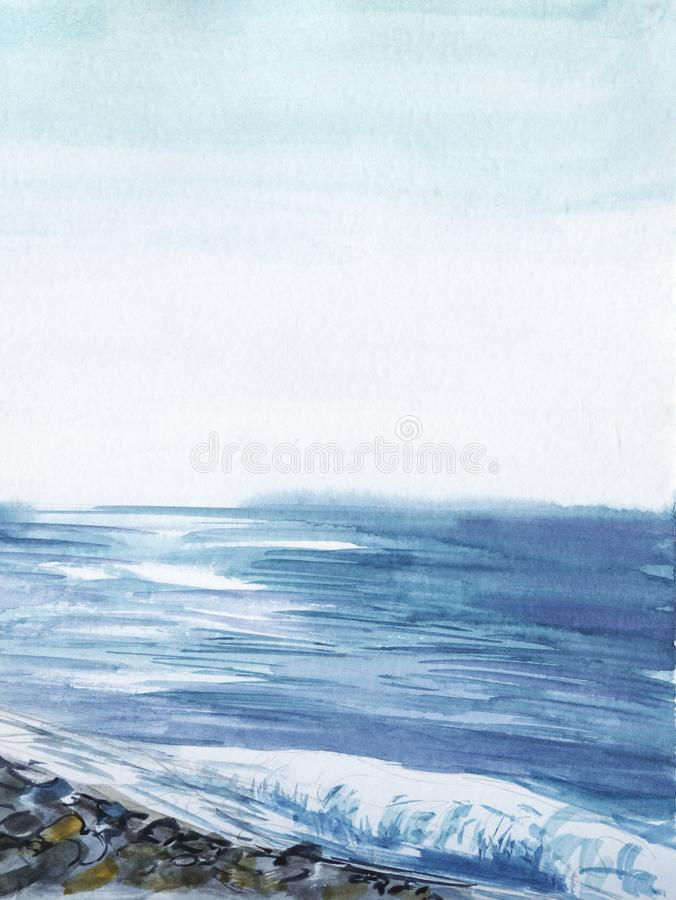 Abstract watercolor landscape. Sea view in calm weather extending to horizon. Blue and white water glare reflects light. Gradient sky. Pebble line in foreground stock photos