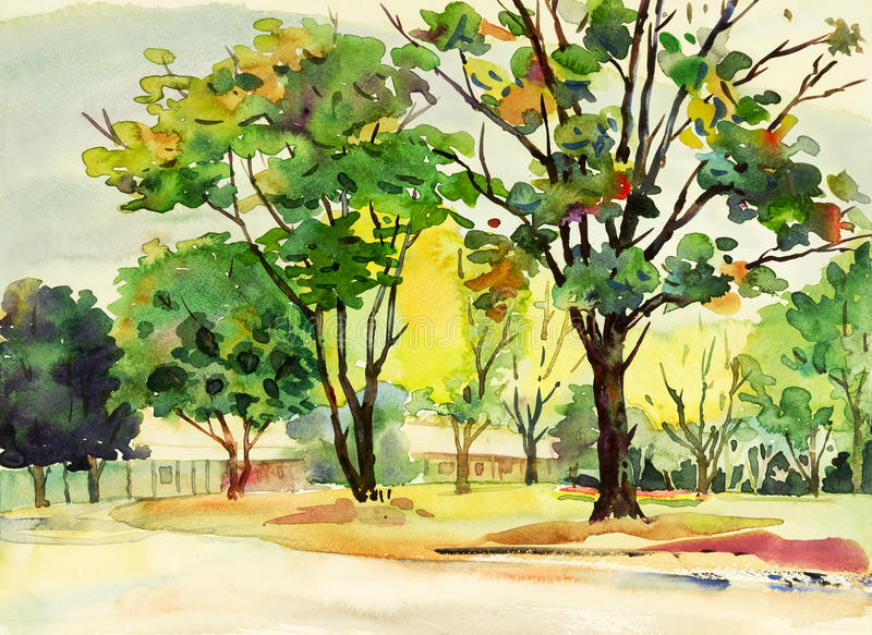Abstract watercolor original painting colorful of flowers garden. Tree and grass with nature spring trees,in mountain,sky background. Painted Impressionist stock illustration