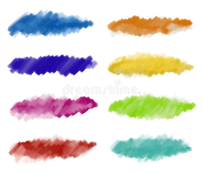 Abstract watercolor paint strokes. A set of textured painting blobs, made with paintbrushn stock illustration