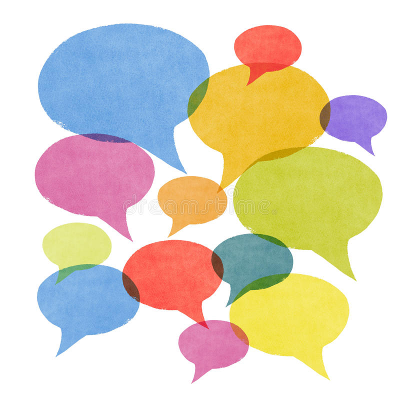 Abstract Watercolor Painted Speech Bubbles Stock Photo