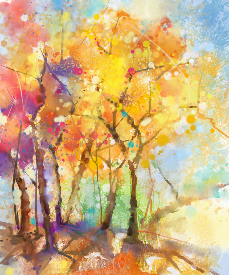 Abstract Watercolor Painting Colorful Landscape Stock