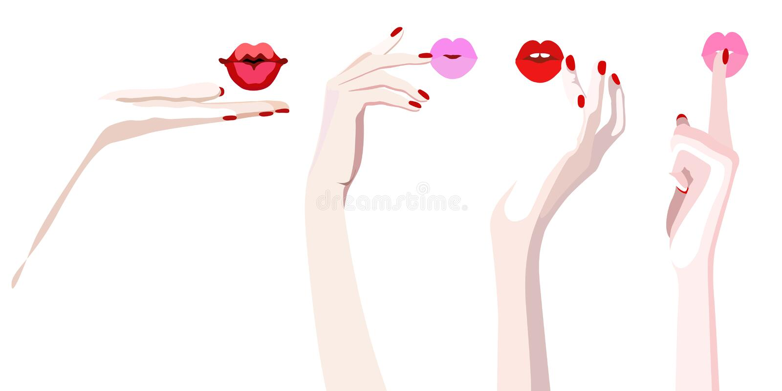 Abstract watercolor painting of female hands with his lips royalty free illustration