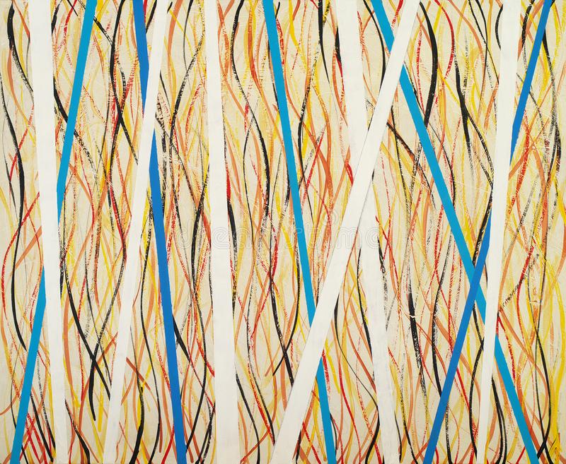 An abstract watercolor painting; freehand lines and stripes on a yellow background stock photo