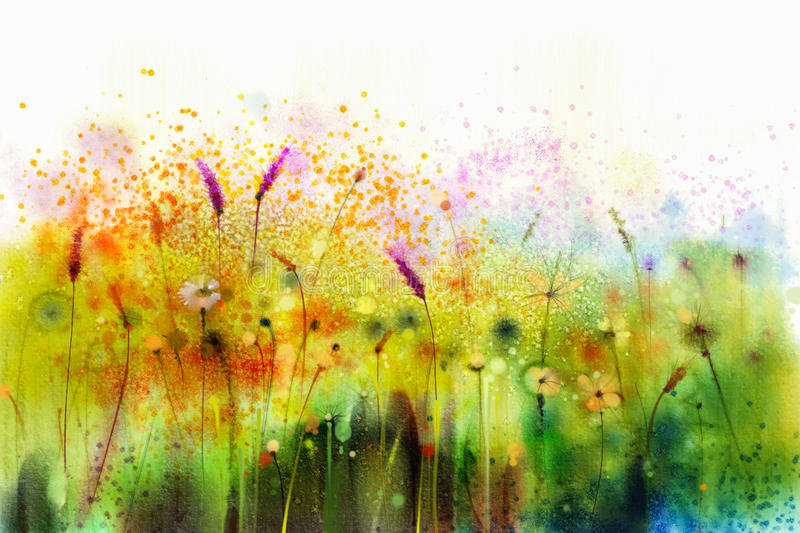 Abstract watercolor painting purple cosmos flowers and white wildflower royalty free illustration
