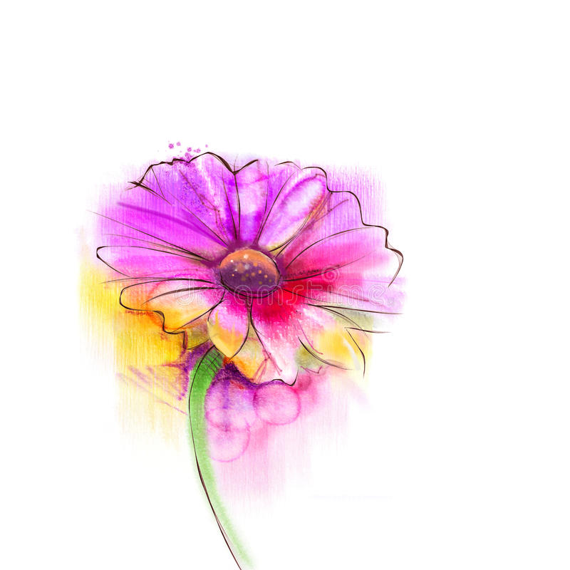 Abstract watercolor painting red gerbera, daisy flower. On white paper background. Hand painted red floral water color. Sketch flower paint in pastel colors vector illustration