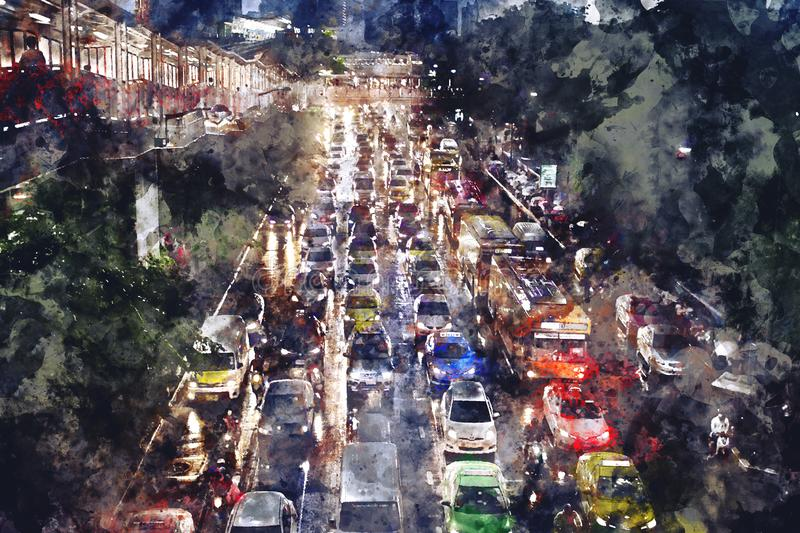 Abstract watercolor painting of traffic jam on road at night. Watercolor texture on image stock illustration