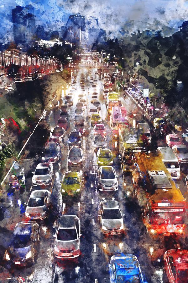 Abstract watercolor painting of traffic jam on road at night. Watercolor texture on image vector illustration