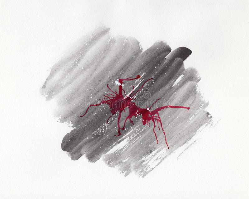 Abstract watercolor on paper. Background neuron, graphite and red royalty free illustration