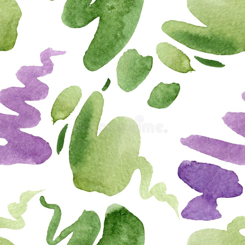 Abstract watercolor paper splash shapes isolated drawing. Watercolor illustration set. Seamless background pattern. Abstract watercolor paper splash shapes vector illustration