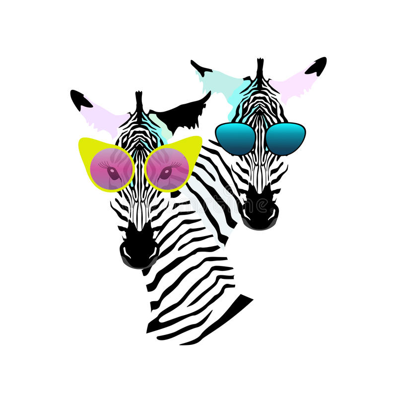 Abstract watercolor pattern Two funny striped Zebra girl man sunglasses stock illustration