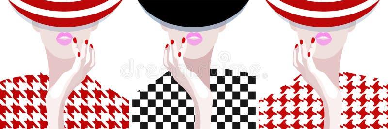 Abstract watercolor pattern woman, striped hat. Dress (pied-de-poule, Pepita, tartan), fashion art, texture fall, beauty. Color prints set, Makeup, pink