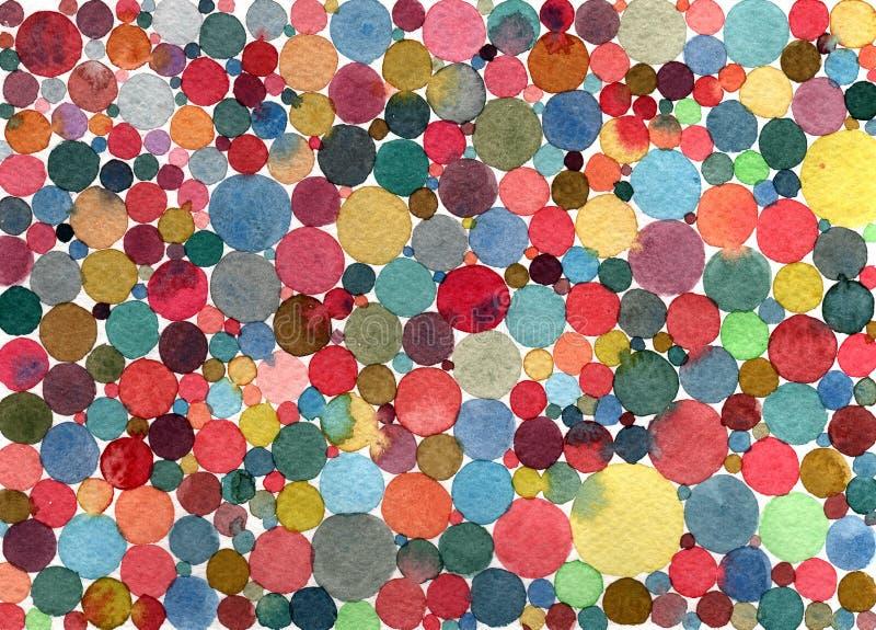 Abstract watercolor polka dots/circles multicolored pattern. Abstract watercolor polka dots and circles multicolored pattern stock illustration