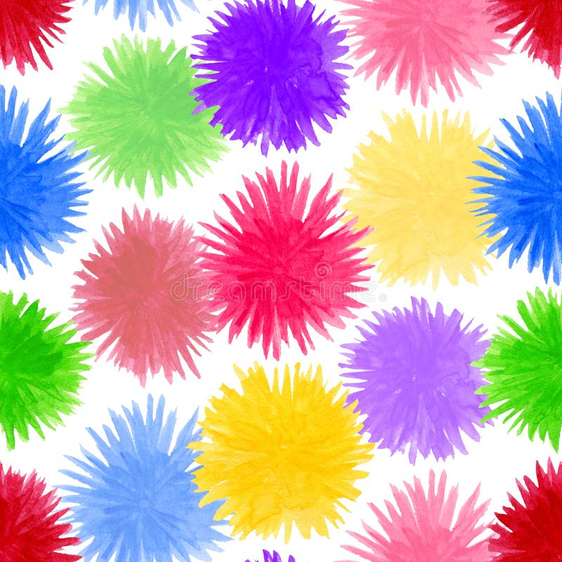 Abstract watercolor pompon seamless pattern. Round colorful flower elements isolated on white background royalty free illustration