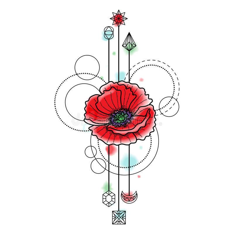 Abstract Flower Background With Decoration Elements For: Abstract Watercolor Poppy Tattoo Stock Vector