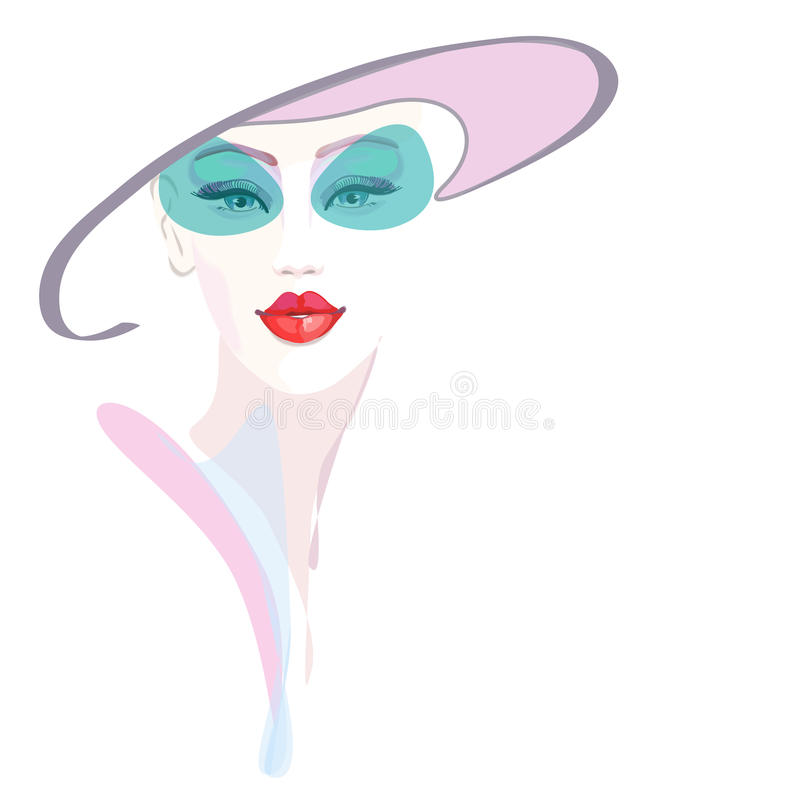Abstract watercolor portrait girl, hat pink gray, stock illustration