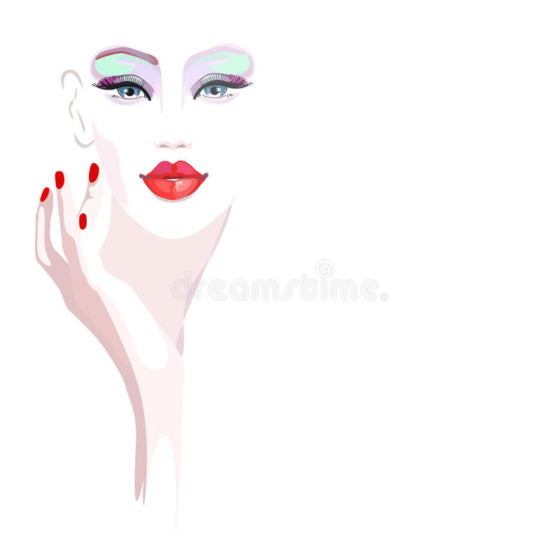 Abstract watercolor portrait girl model, fashion. Art, beauty. Color prints, design Makeup, isolated on white background for text, women and hand with red stock illustration