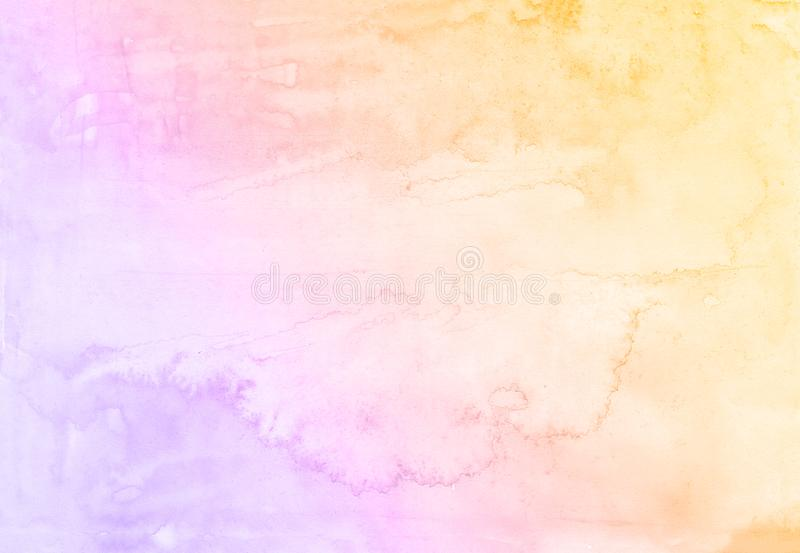 Abstract watercolor purple and yellow background, raster illustration card stock illustration
