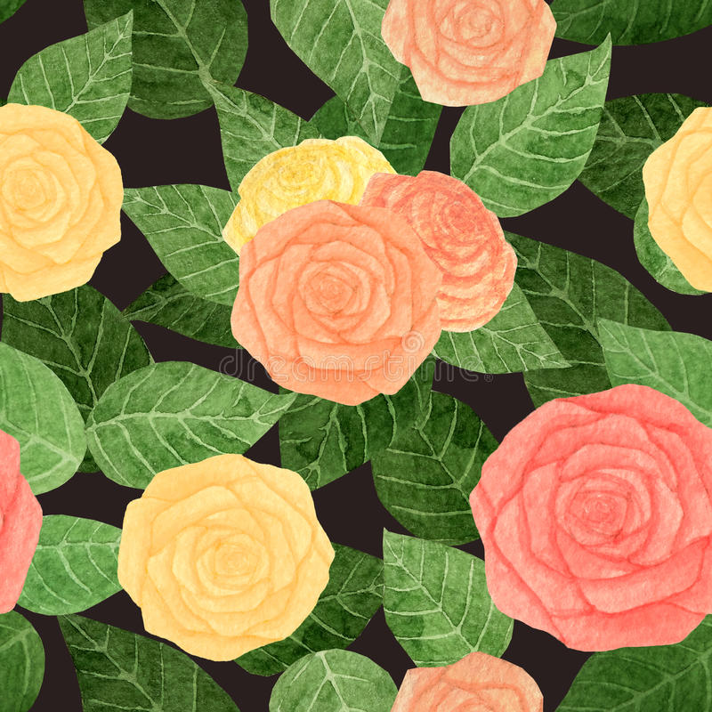 Abstract watercolor rose and leaves seamless pattern on the dark background vector illustration