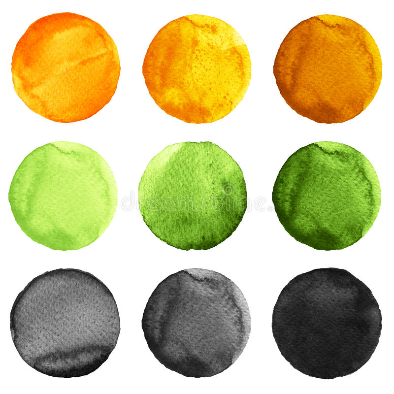 Abstract watercolor round painted backgrounds, blobs of blue, yellow, orange, black colors. Abstract watercolor round painted backgrounds of green, yellow stock illustration