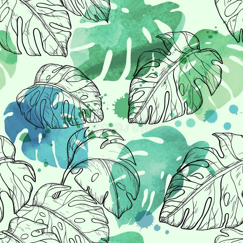 Abstract watercolor seamless leaves pattern with tropical leaves. Vector illustration stock illustration