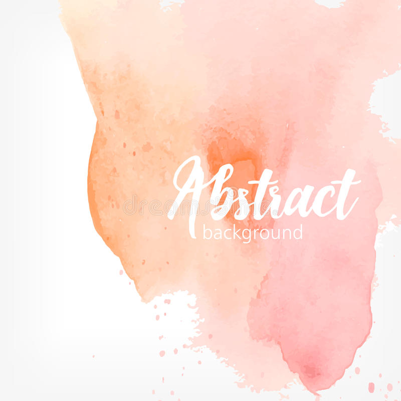 Abstract watercolor stain. Peach and pink pastel colors. Creative realistic background with place for text. stock illustration