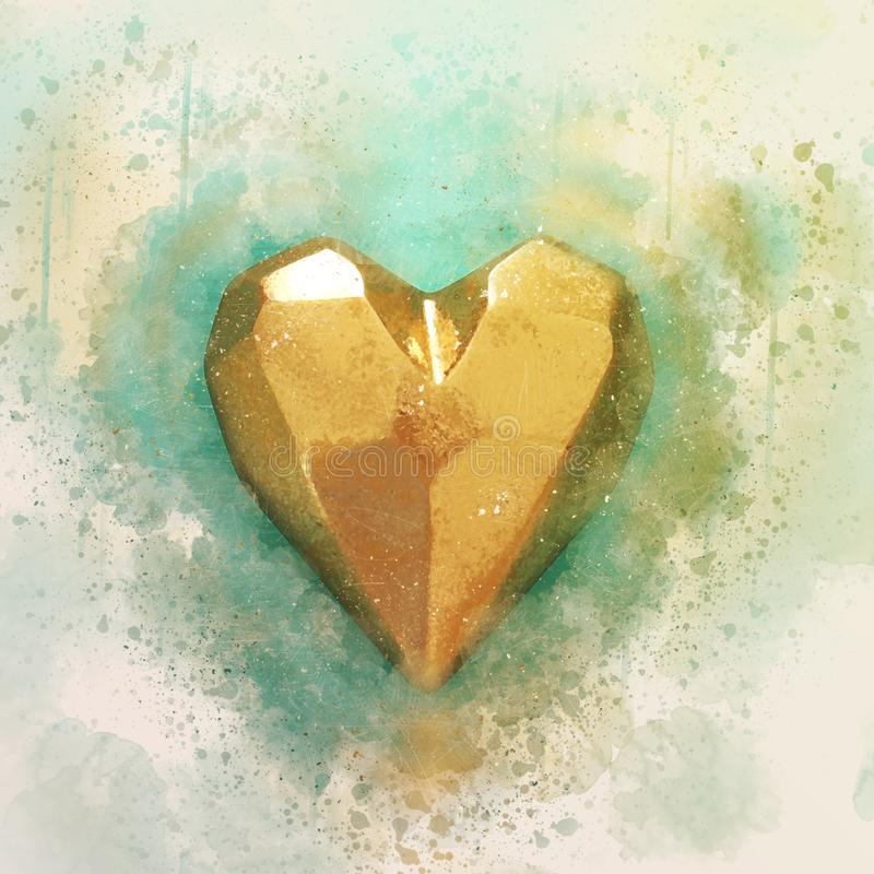 Abstract watercolor style illustration of golden heart. Abstract watercolor style illustration of golden heart stock photos