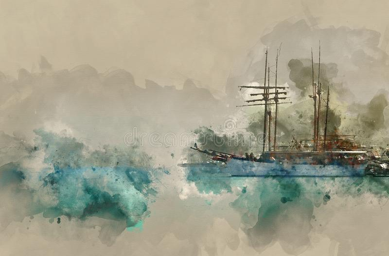 Abstract watercolor style illustration of nautical concept with old boat.  stock photos
