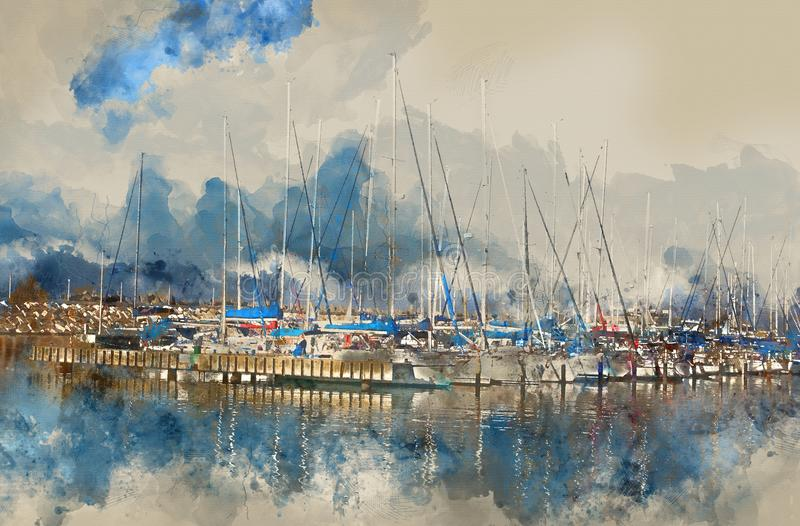 Abstract watercolor style illustration of nautical concept with old boat.  stock photography