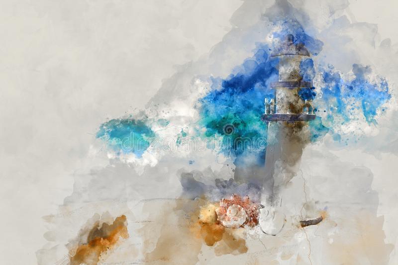 Abstract watercolor style illustration of nautical concept with seashells and lighthouse. Abstract watercolor style illustration of nautical concept with stock photography