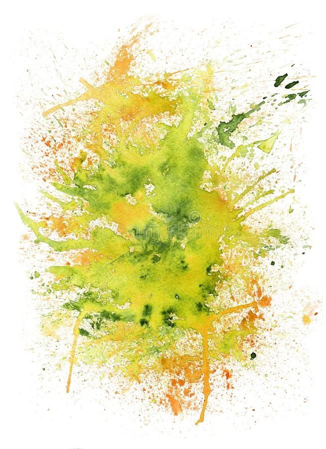 Abstract Watercolor Summer Blob. Creative yellow and greenery color illustration with blots on white background stock photos