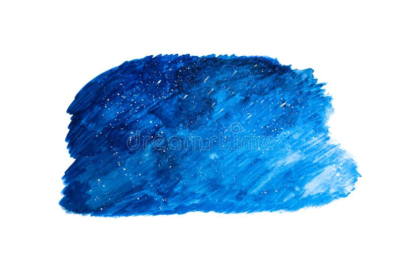 Abstract watercolor texture art of amazing deep dark blue sky wi stock images