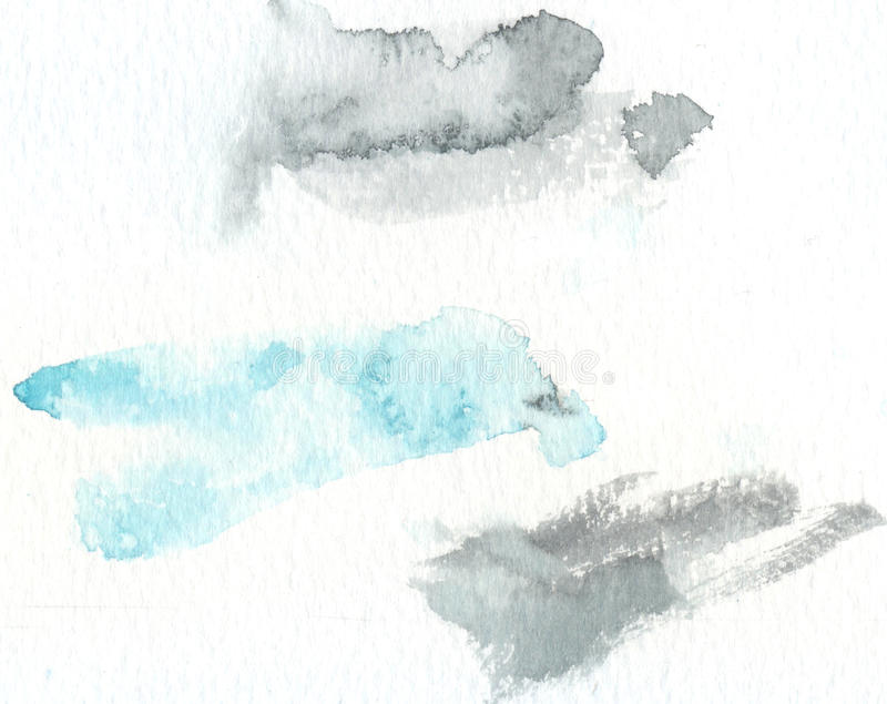 Abstract watercolor texture with painted stains and strokes. Delicate artistic background. Pastel blue and light gray royalty free stock photo