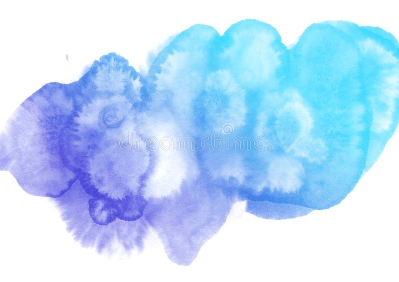 Abstract watercolor on white background.The color splashing in the paper.It is a hand drawn stock image